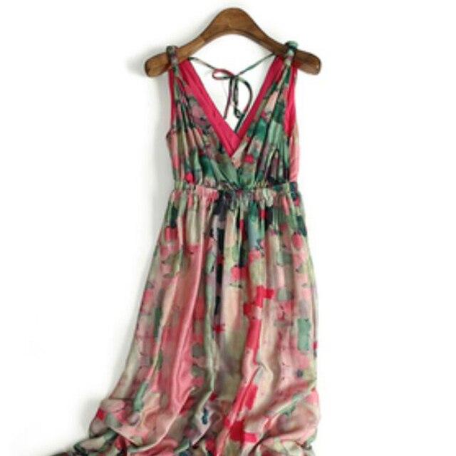 0ba07d180bdad3 Zijde Jurken Elegante Strand jurk Lange V-hals Roze Gedrukt Stijl Hoge  Kwaliteit Kleding Gratis