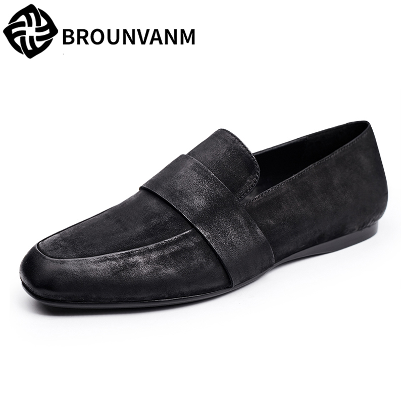 loafer shoes men Driving shoes soft young men's British reto lazy casual shoes male Genuine leather all-match cowhide sneaker spring and autumn summer british retro men s lazy doug shoes loafer shoes men driving shoes male leisure driving casual cowhide