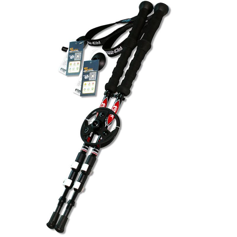Prix pour 2 pcs/lot 195 g/pc En fiber de Carbone Alpenstock Externe rapide verrouillage Trekking pôles randonnée télescope bâton de marche Nordique bâton