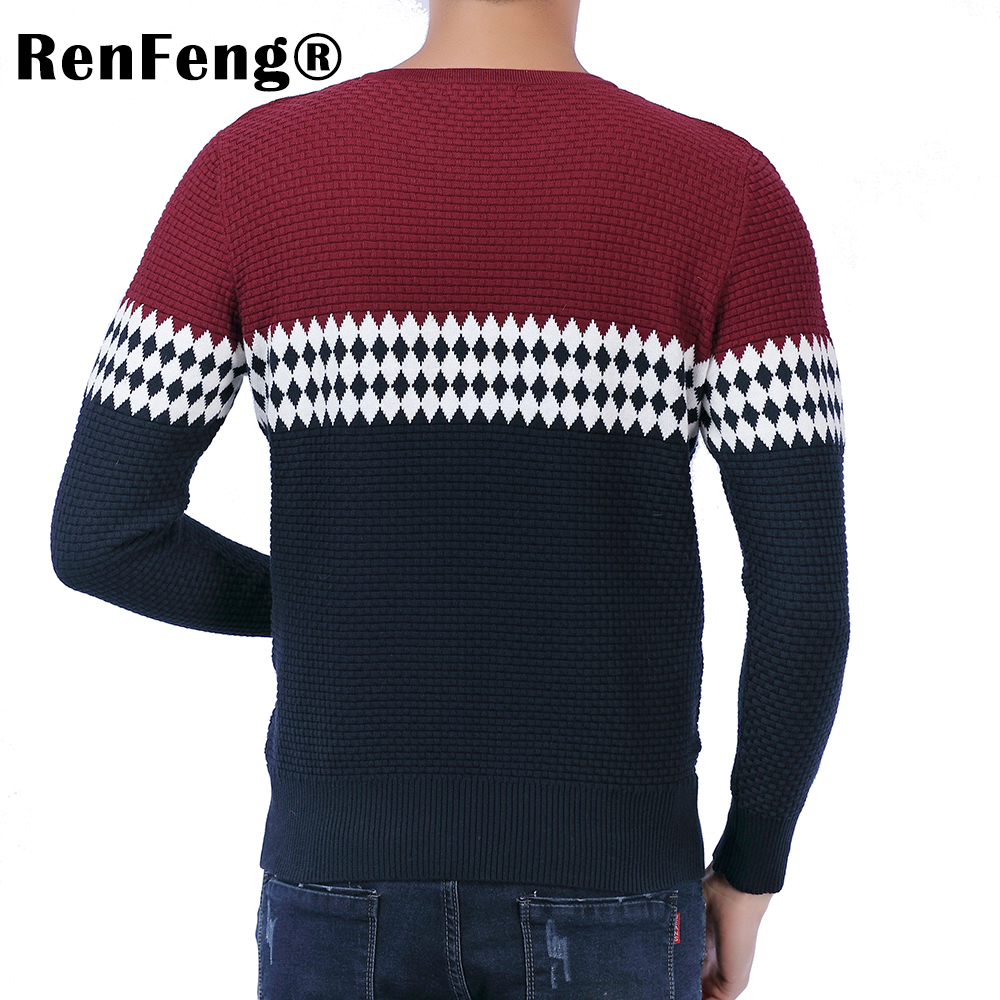 2018 New Autumn Fashion Brand Casual Sweater O-Neck Striped Slim Fit Knitting Mens Sweaters Pullovers Geometric Men Pullover Men (1)