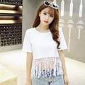 new Korean version of women's short sleeved T-shirt cotton Crewneck T-shirt tassel solid half sleeve female students