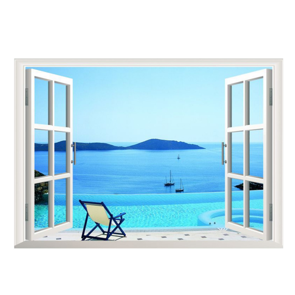 Awesome Kuke 3D View Fake Window Seascape Wall Sticker Office Removable PVC Wall  Decals Home Art Waterscape Decor Wallpaper In Wall Stickers From Home U0026  Garden On ...