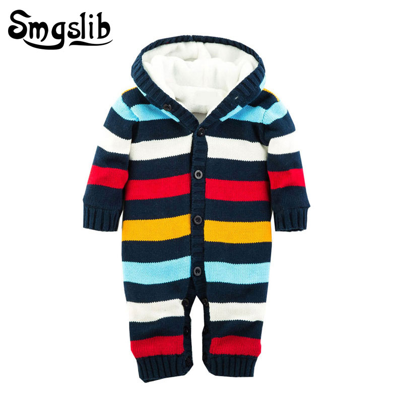 Girl winter clothes long sleeve stripe baby onesie Long Sleeve Hoodies Romper Jumpsuit Outfits Clothes warm sweater Costumes