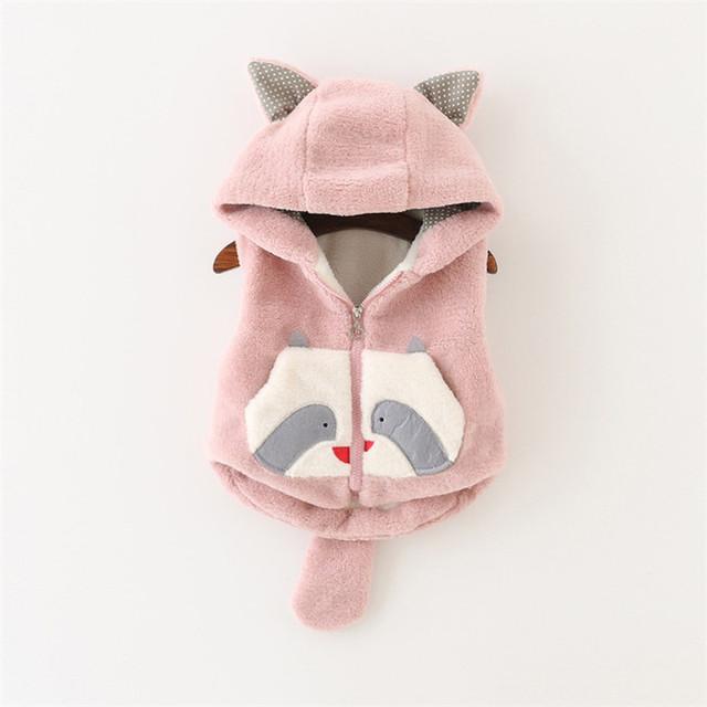 2016 Nova Baby Girl Outerwear Coletes Com Capuz Para Bebê Dos Desenhos Animados Panda Grossas de Veludo Infantil Inverno Colete Com Zíper Bebê Menina Quente colete