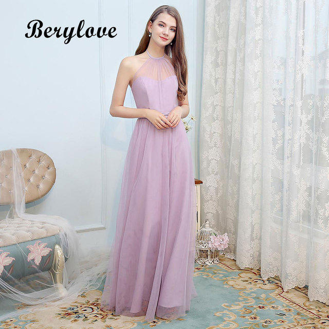 BeryLove Simple Light Purple Tulle Evening Dresses Long Halter Prom Dresses  2018 Formal Evening Gowns Women Party Dress For Prom e064d6fd7b88