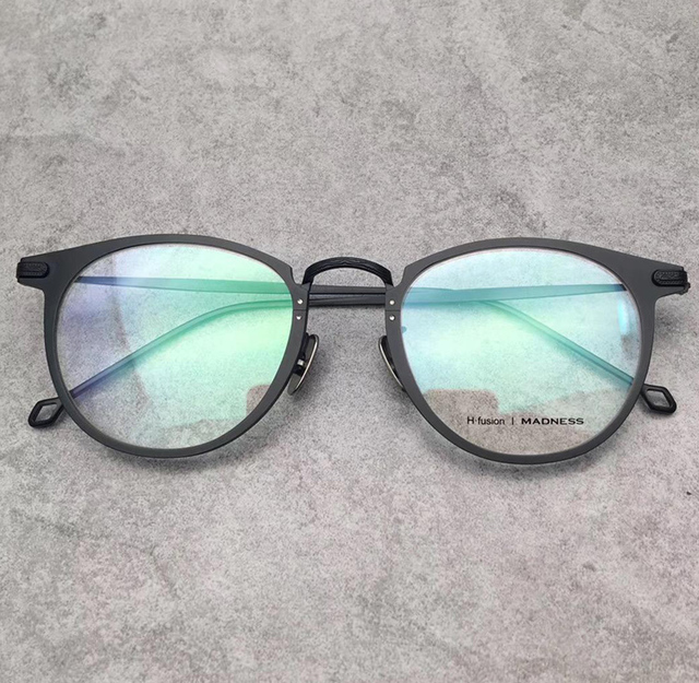 Vintage H. fusão marca prescrição óptica óculos moldura redonda óculos de  armação de titânio óculos daac42d653