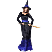 Adult Women Halloween Cobweb Black Magic Broom Witch Wizard Costume Funny Cosplay Outfit Long Dress For Ladies