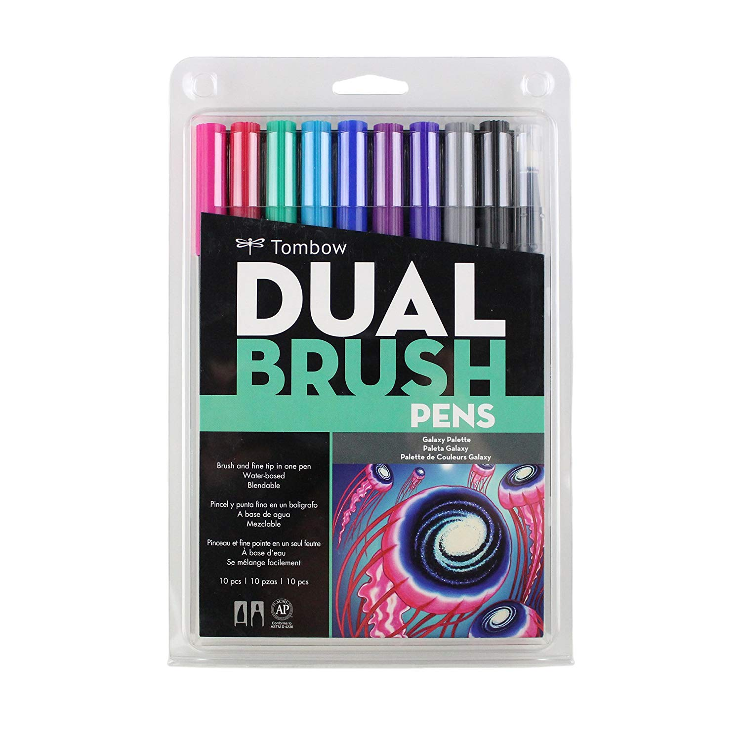 Japan Tombow Dual Brush Watercolor Art Marker Bright Grey Primary Pastel Galaxy Set For Lettering Animation