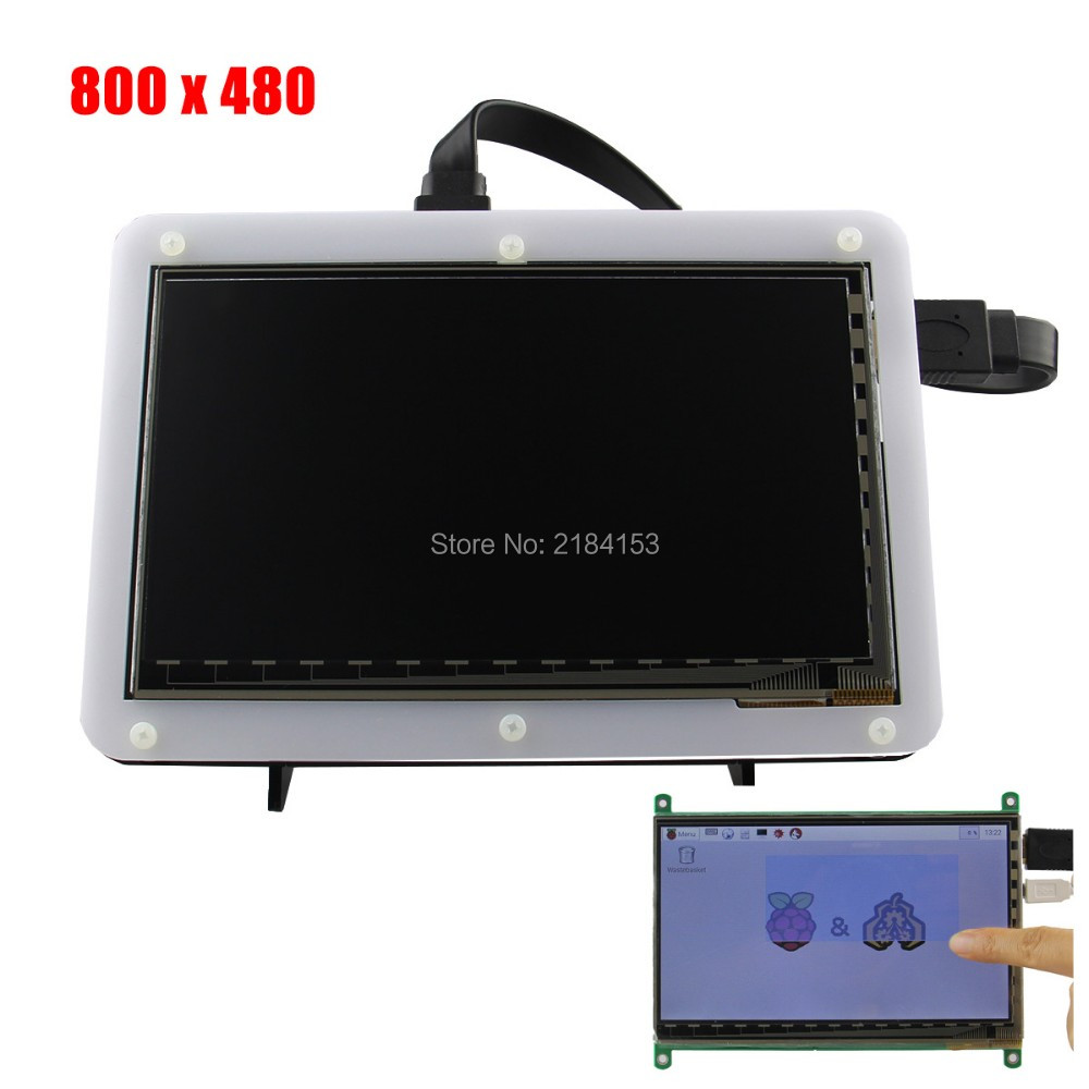 7 Inch 800x480 TFT LCD HDMI Capacitive Touch Display With Acrylic Stander Bracket For Raspberry Pi 3B/2B/B Plus
