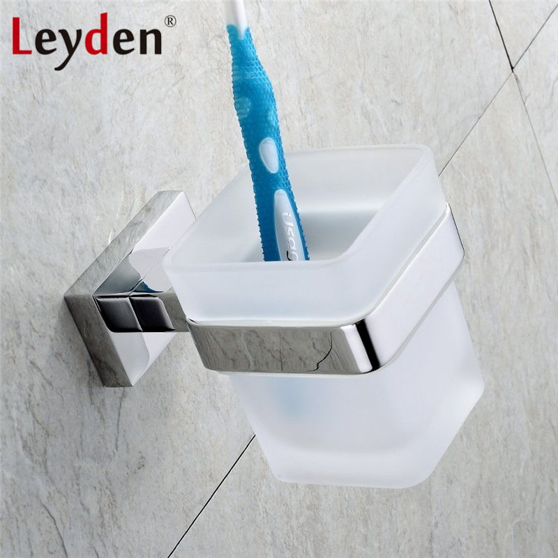 Leyden 304 Stainless Steel Toothbrush Holder Glass Cup Tumbler Holders Toothbrush Cup Chrome Cup Holder Bathroom Accessories toothbrush holder wall mounted square base 304 stainless steel and copper toothbrush holders with glass cups polished chrome