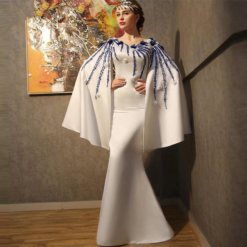 Elegant Muslim   Evening     Dresses   2019 Mermaid V-neck Beaded Islamic Dubai Saudi Arabic Long   Evening   Gown Prom   Dresses