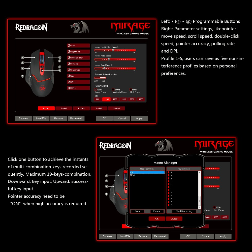 Redragon Professional Wireless 8 Buttons Gaming Mouse For Travel
