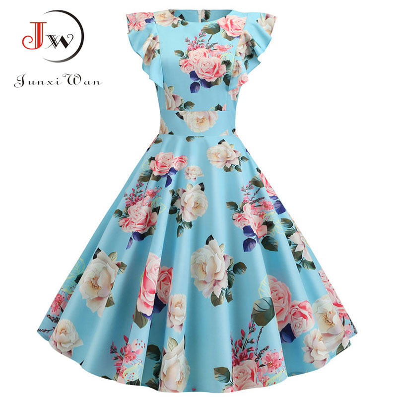 2019 Women Summer Dress Retro 50s 60s Robe Femme Rockabilly Pinup Party Vestidos Plus Size Casual Elegant Floral Office Dress