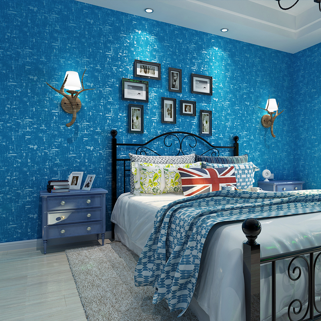 Mittelmeer Blau Vintage Tapete Moderne Einfache Klar Farbe 3D Wand ...