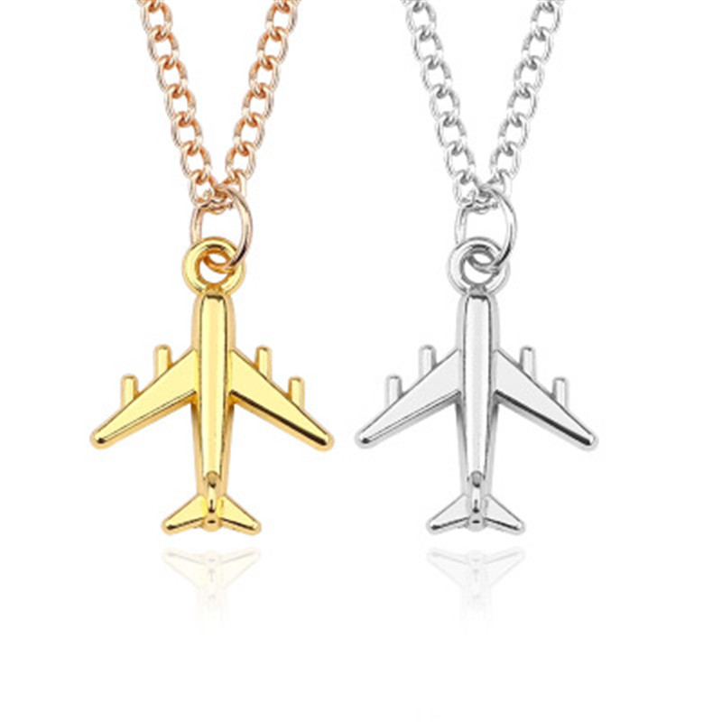 2018 Handmade Silver Color Airplane Pendant Necklace Aircraft Choker Alloy Clavicle Chain For Women Men Jewelry image