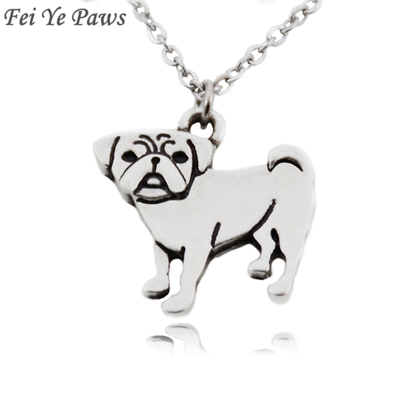 Fei Ye Paws Boho Chic Cute Pug Dog Charms Pendant Statement Necklace Collar Stainless Steel Chain Necklaces For Women Jewelry