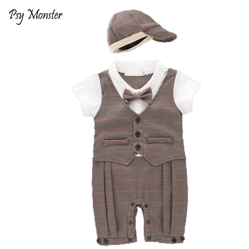 Baby Boys Hat + Fake Vest Waistcoat Romper Gentleman Infant Gentleman Jumpsuits Wedding Tuxedo Suit 2 Pcs Clothing Set A14