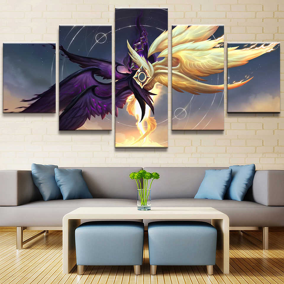 Canvas Hd Prints Picture Wall Artwork 5 Pieces League Of Legends Painting Home Decoration Modular Game Poster Living Room Framed