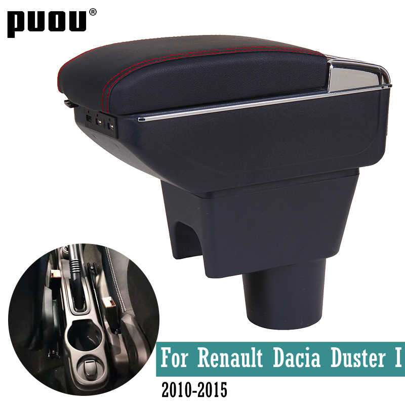 Rotatable heighten  armrest box For Renault Dacia Duster I 2010-2015 Central console storage box ashtray  Cup holder PU Leather