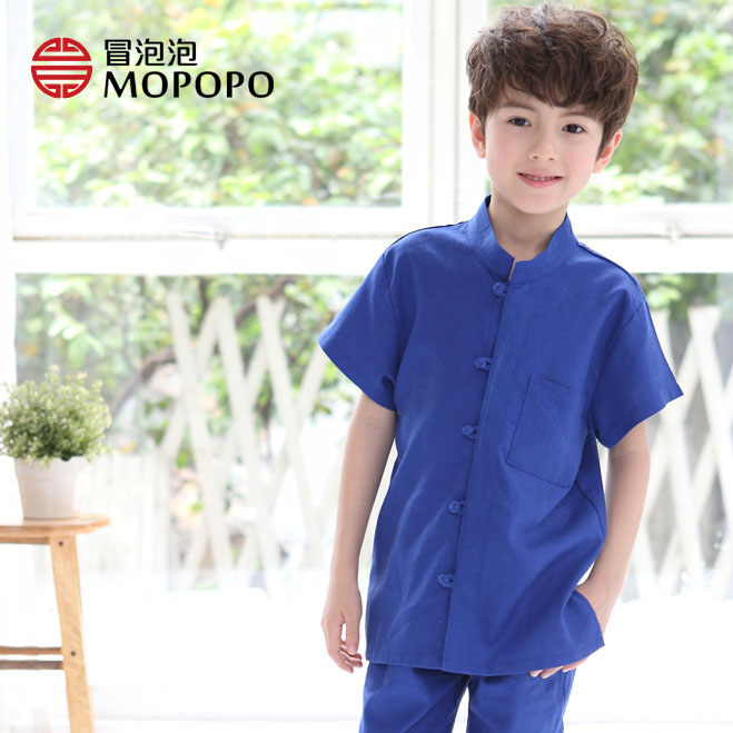 Kids Boys Chinese Costumes For Children short sleeve Jackets Role Play Traditional Chinese Tang Costume Clothing For Kids boys costumes scholar costumes chivalrous person costumes novelty costumes ancient chinese wear