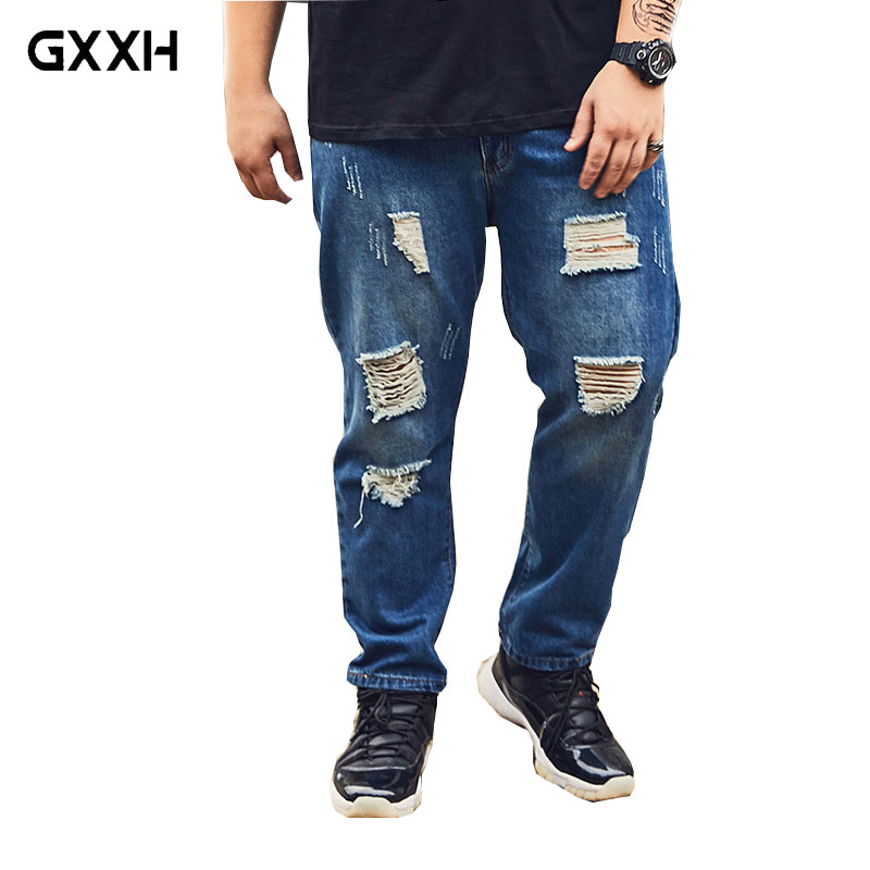2018 Summer New Large size Loose Nine Points Hole jeans Extra Large XXL-6XL 7XL 8XL Thin section jeans Stretch Casual Blue jeans