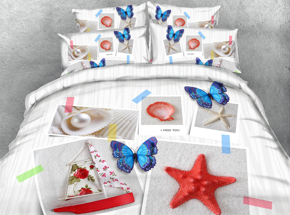 HOT 3d bedding queen size bedspread bed cover comforter sheets set twin full king size woven 500TC butterfly starfish boat shellHOT 3d bedding queen size bedspread bed cover comforter sheets set twin full king size woven 500TC butterfly starfish boat shell