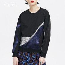 Ving sweatershirt 2017 outono nova resumo padrão de lantejoulas o-pescoço das mulheres de manga longa com capuz sweatershirts