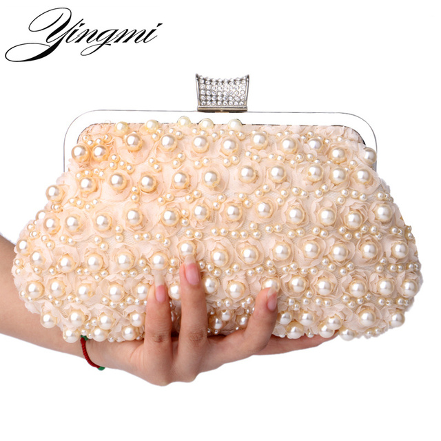 Yingmi Evening Bags Women Clutch Wedding Bridal Handbag Pearl Beaded Lace Rose