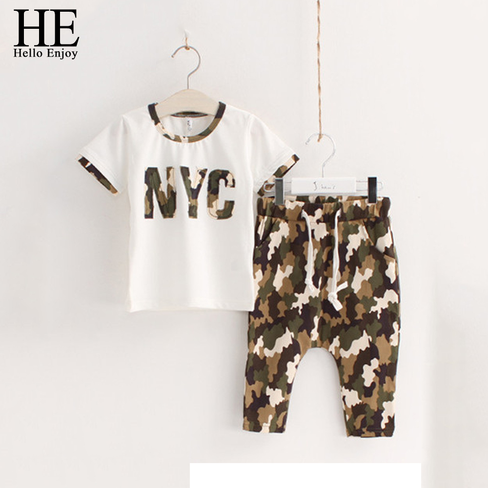 HE Hello Enjoy girls clothing sets 2017 Casual Kids clothes set for boys summer camouflage White short-sleeved + children shorts