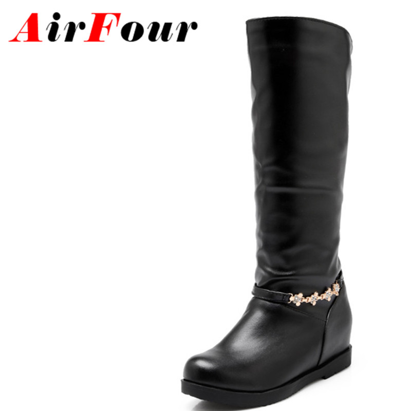 ФОТО Airfour Winter Mid-calf Round Toe Flats Rhinestion Platform Boots Women Low Heels Casual Shoes Slip On Height Increasing Boots