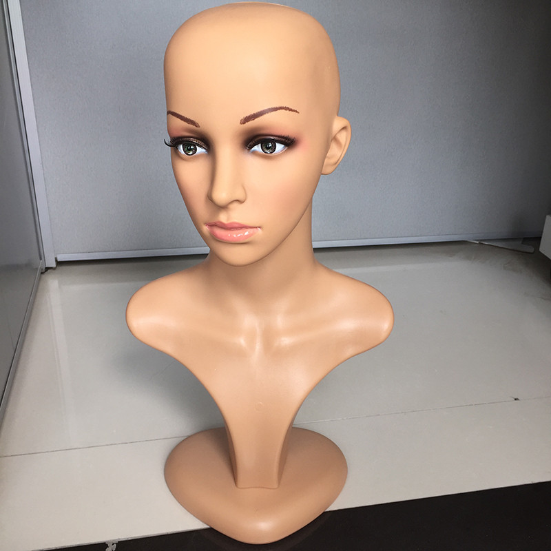 Free Shipping PE Bald Mannequin Head For Wigs Making Cosmetology Manikin Head For Makeup Practice Black Mannequin Head