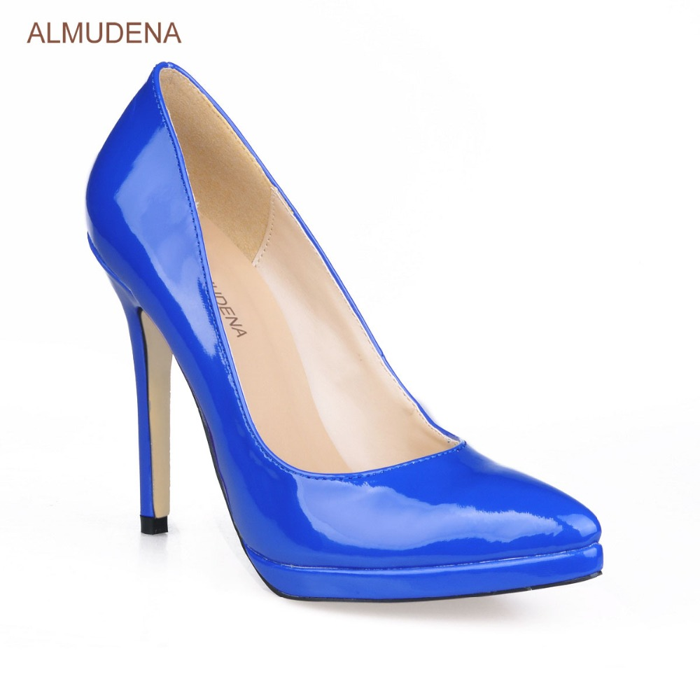 ALMUDENA Royal Blue Black Patent Leather Pointed Toe Pumps Stiletto Heels  Dress Shoes Platform Banquet Shoes For Party -in Women s Pumps from Shoes  on ... c714a357bd1d