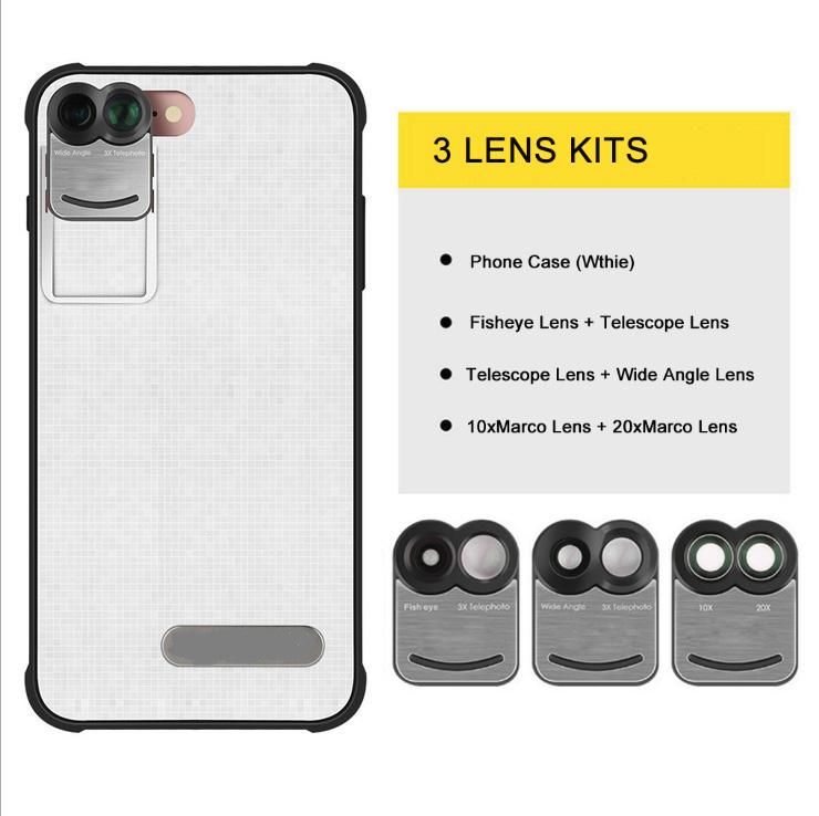 17 New For iPhone 7 Plus 7Plus Dual Phone Camera Lens Fisheye Wide Angle Macro Telescope Camera Phone Lens with Phone Case 4