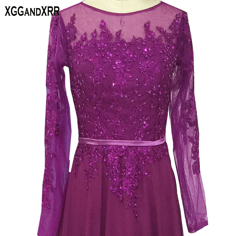 New Arrival Long Sleeves Purple Chiffon A-Line Mother Of The Bride Dresses 2018 Scoop Appliques Beaded Illusion Back Party Dress