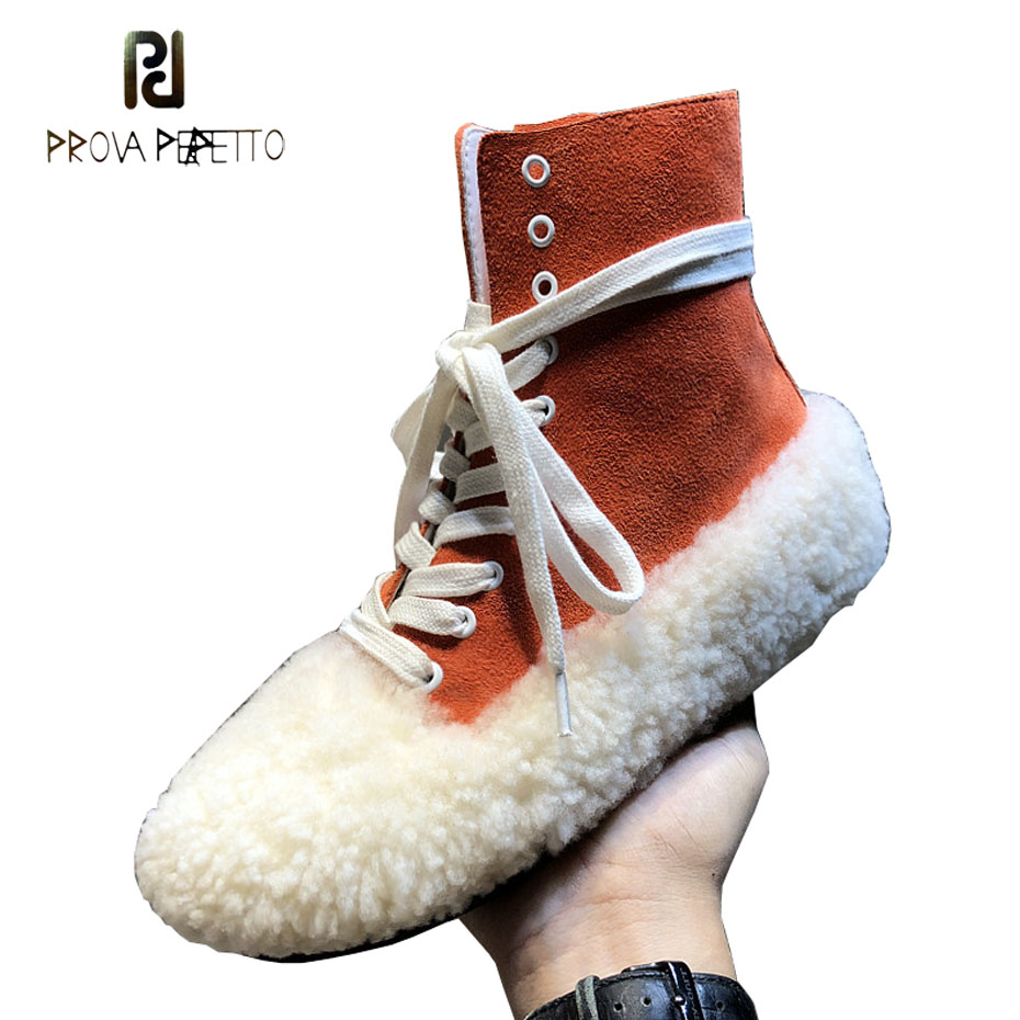 Prova Perfetto 2018 winter new wool fur patchwork suede high top flats shoes women mixed color lace up casual short boots female цены