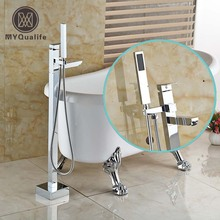Bathroom Chrome Free Standing Clawfoot Bath Tub Filler Faucet Floor Mounted Tub Mixer Taps