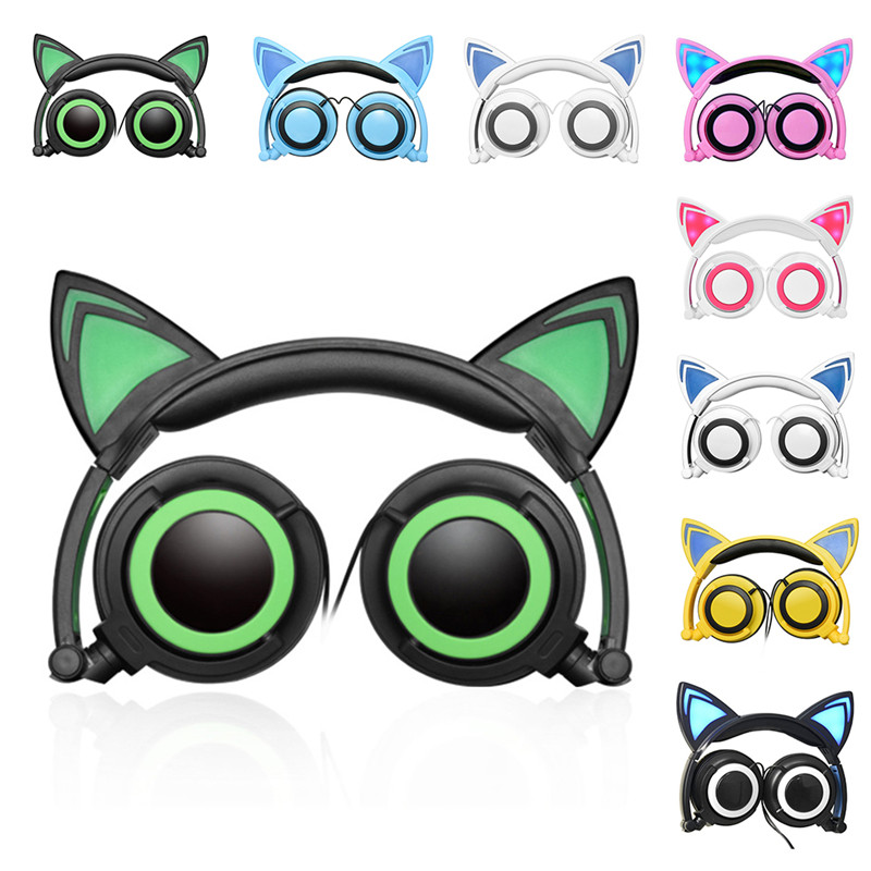 Fashion Luminous Cat Ear Headphones Wired Flashing Earphone with LED Light Cute Glow Gaming Headset Foldable For Computer PC