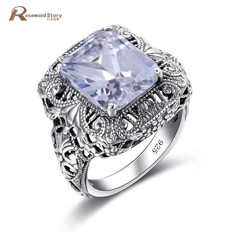 Vintage Punk Fashion Retro Antique Solid 925 Sterling Silver Ring White Cubic Zirconia Engagement Ring Patterns Knuckles Weapon