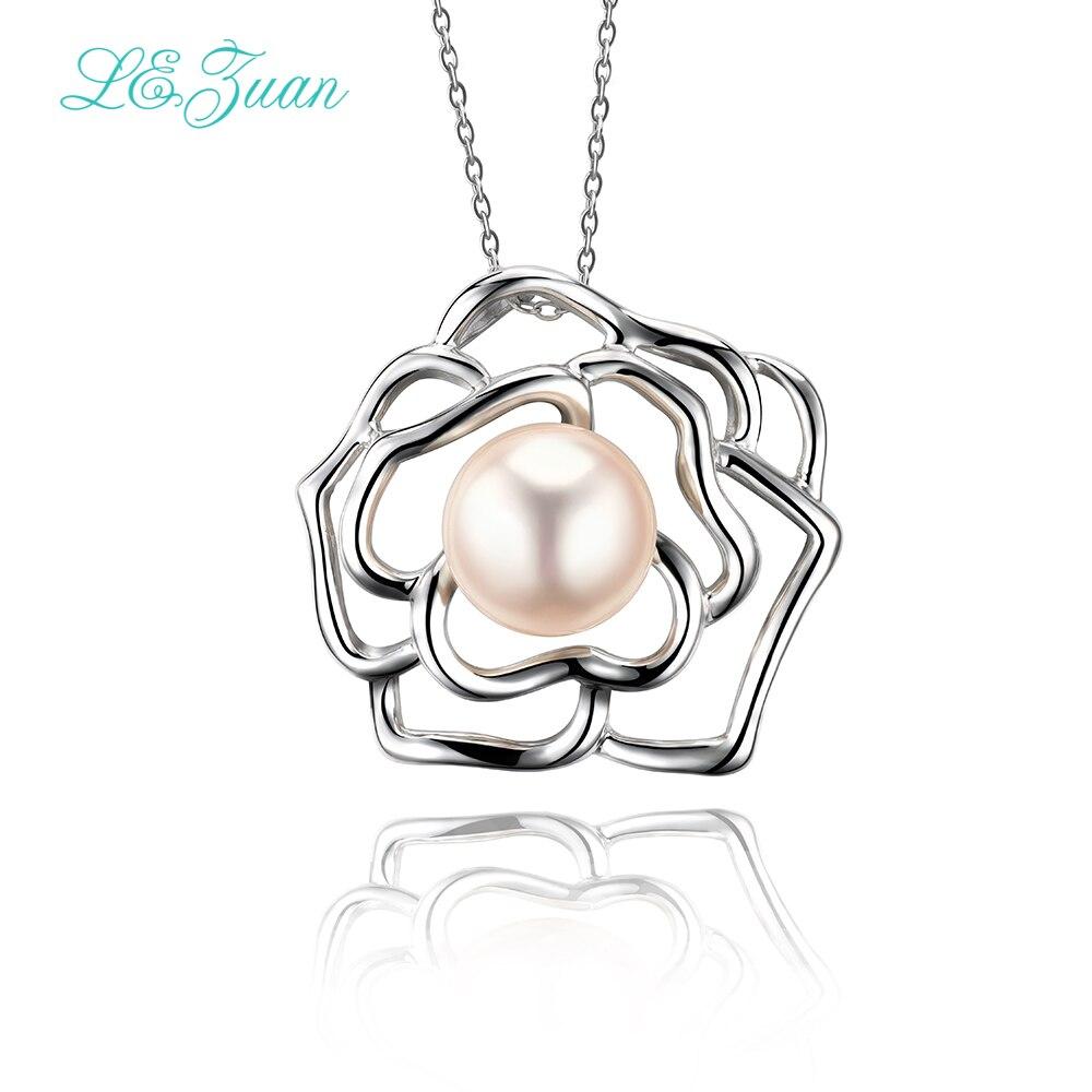 Здесь можно купить  L&zuan Natural Freshwater Pearl Pendant Romantic Luxury 925 Silver Pendant Necklace For Women Sterling Sliver Jewelry  Ювелирные изделия и часы