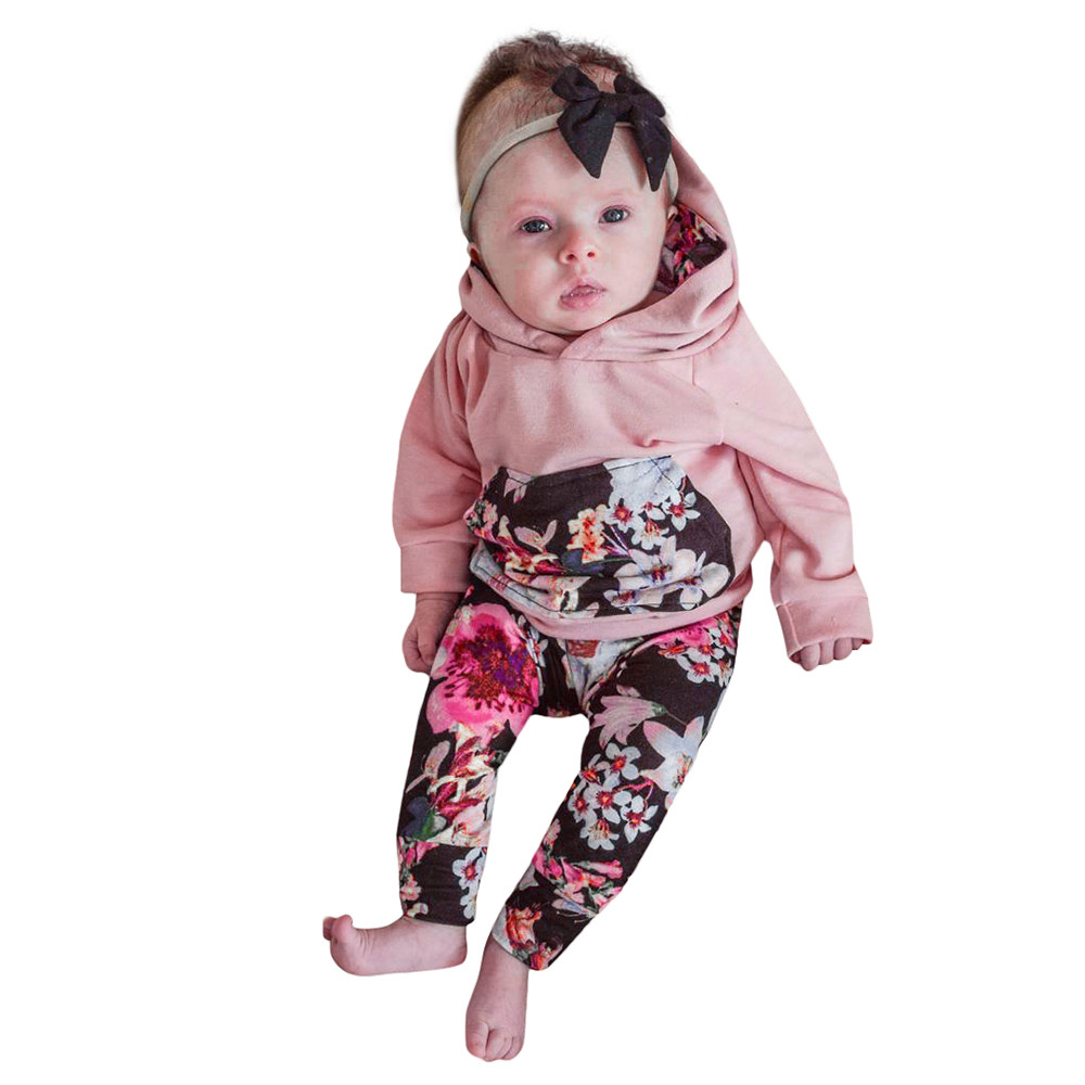 MUQGEW Newborn Girl Clothes Floral Hoodie Tops+Pants Outfit Clothes Set Cheap Newborn Clothing Baby 2017 Camisa Infantil QZ06 ...