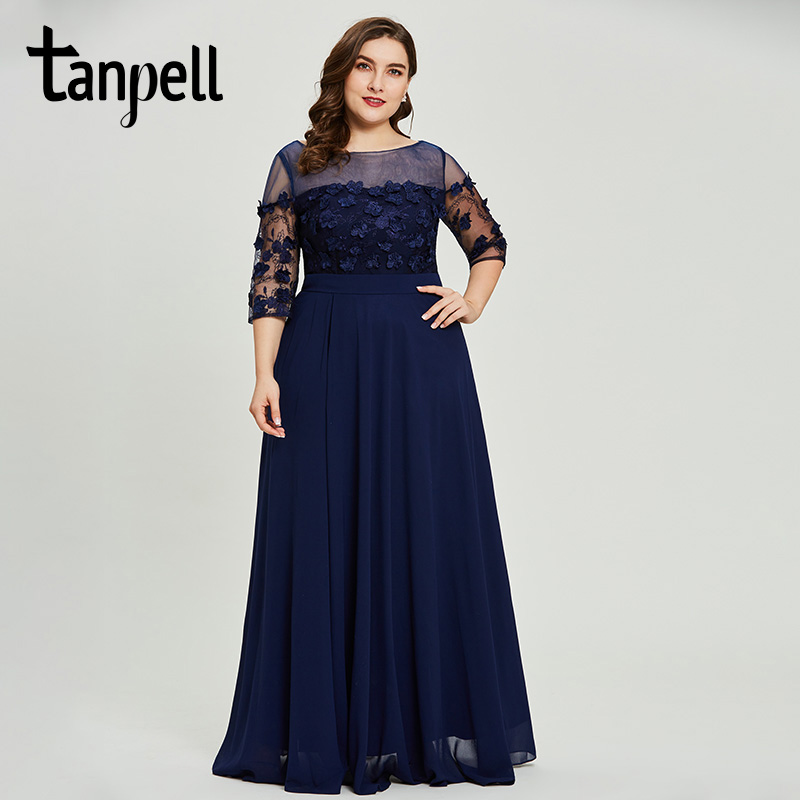 Tanpell разрезом спереди вечернее платье темно-три четверти рукава линия платье женщины Выпускной аппликациями вечернее платье es