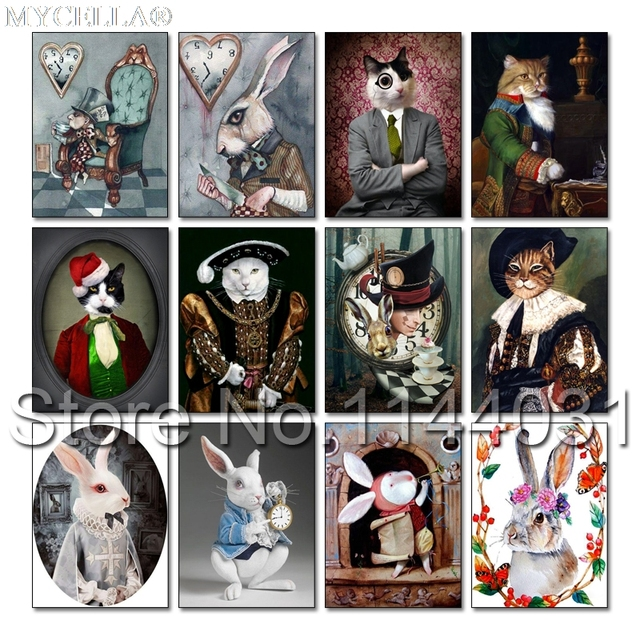 5d Diy Diamond Painting Mr White Rabbit Cross Stitch Kits Diamond