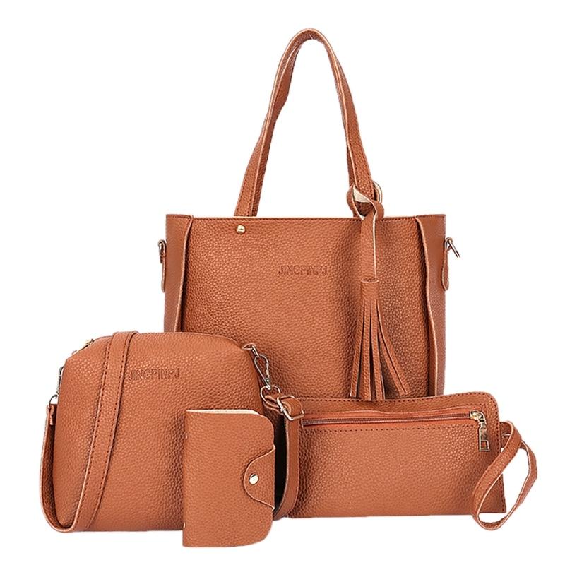 4pcs Women Tote Purse Messenger Satchel Set Fashion Handbag Sets PU Leather Shoulder Bags fashion women handbags sets pu leather handbag women messenger bags design ladies handbag shoulder bag purse 3 sets bs88
