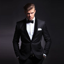 Tailor Made Shawl Lapel Suits Mens Set Black Blazer Wedding Groom Suits for Mens Dinner/Prom Suit costume mariage