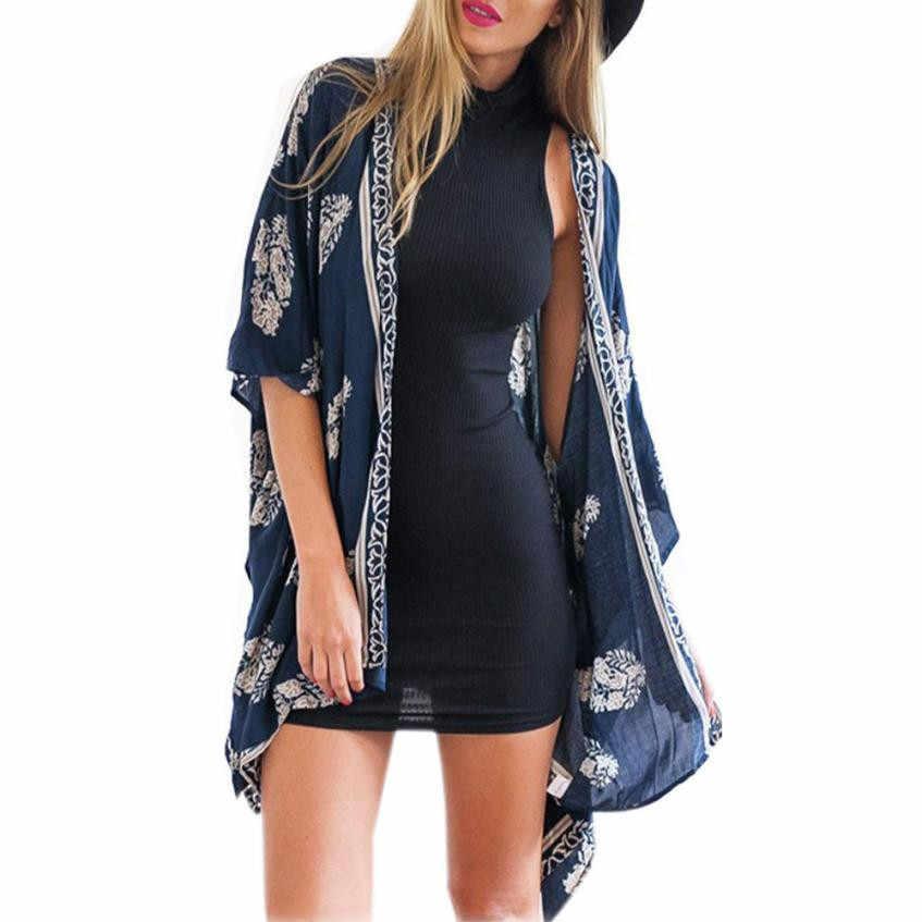 KANCOOLD 秋の女性カジュアル着物上着ファッションカーディガンプリントカーディガンブラウストップスビーチカバーアップ女性 PJ0723