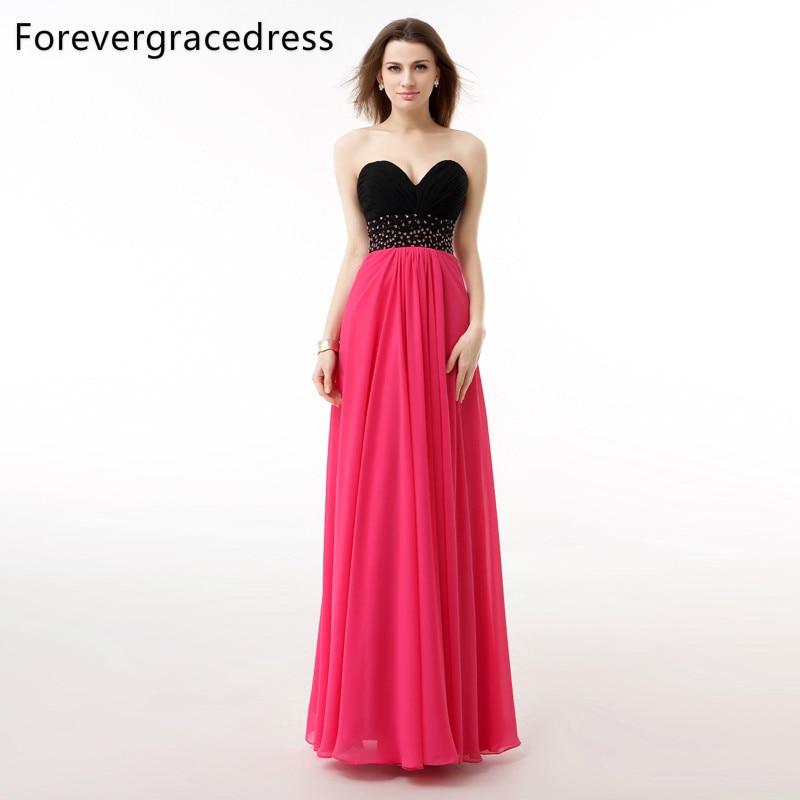 Forevergracedress Реальный образец Coral вечернее платье Line Милая бисером Длинные шифон официальная Вечеринка платье плюс Размеры