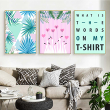 Leaf Flamingo English Alphabet Fashion Combination Decorative Poster Wall Art Canvas Painting Home Picture Decor