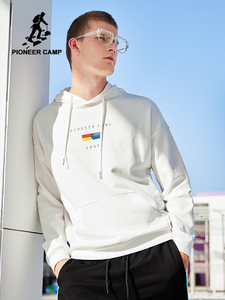 Image 1 - 파이어 니어 캠프 2020 새로운 봄 후드 스웨터 망 브랜드 의류 패션 인쇄 후드 스웨터 남성 블랙 화이트 AWY901024