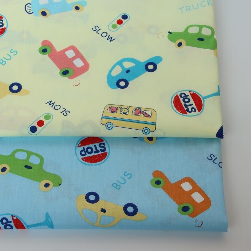 100% cotton twill cloth cartoon light yellow blue car traffic light fabric for DIY crib bedding cushions quilting handwork decor