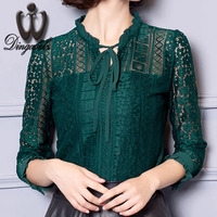 2016 Bow Tie Women Blouse New Fashion Blusa Hollow Out Lace Shirt Long Sleeved Tops Plus